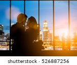 silhouette of romantic lovers... | Shutterstock . vector #526887256