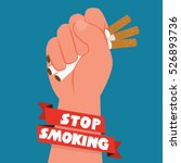 cigarettes in fist hand. giving ... | Shutterstock .eps vector #526893736