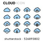 vector flat cloud icons set on...