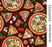 pizza pattern with slices and... | Shutterstock .eps vector #526903522