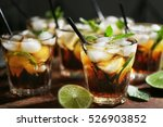glasses of cocktail with ice on ... | Shutterstock . vector #526903852
