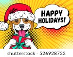 wow dog face. funny surprised... | Shutterstock .eps vector #526928722