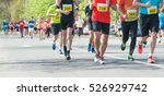 marathon  street runners  in...   Shutterstock . vector #526929742