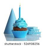Birthday Cupcake On White...