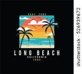 vector cartoon beach and surf... | Shutterstock .eps vector #526939672