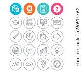 education icons. graduation cap ... | Shutterstock .eps vector #526942762