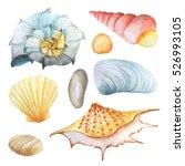 watercolor set of sea life... | Shutterstock . vector #526993105