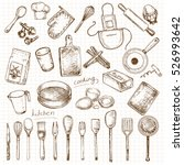 hand drawn set kitchen objects | Shutterstock .eps vector #526993642