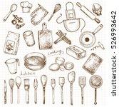 hand drawn set kitchen objects | Shutterstock .eps vector #526993642