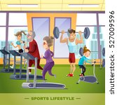 sports family flat template... | Shutterstock .eps vector #527009596