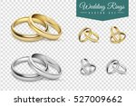 Wedding rings set of gold and silver metal on transparent background isolated vector illustration | Shutterstock vector #527009662