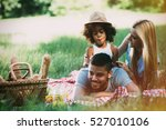 family having fun and picnic in ... | Shutterstock . vector #527010106