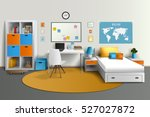 young teenager room interior... | Shutterstock .eps vector #527027872