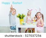 three toddlers sitting at the... | Shutterstock . vector #527037256