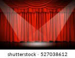 Red Curtains And Wooden Stage...