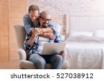happy gay couple expressing... | Shutterstock . vector #527038912