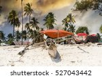 old wooden fishing boat with...   Shutterstock . vector #527043442