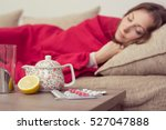 sick woman covered with a... | Shutterstock . vector #527047888