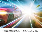 red race car with light effect.  | Shutterstock . vector #527061946