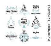 set of hand drawn merry... | Shutterstock .eps vector #527063986