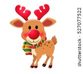 christmas reindeer  red nose. | Shutterstock . vector #527077522