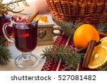 glass of hot mulled wine on... | Shutterstock . vector #527081482