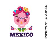 mexico pattern. skull and... | Shutterstock .eps vector #527086432