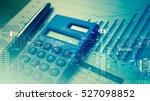 double exposure of city and pen ... | Shutterstock . vector #527098852