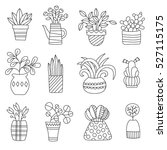graphic house plant drawings... | Shutterstock .eps vector #527115175