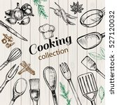 card templates cooking elements | Shutterstock .eps vector #527120032