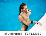 woman enjoying cocktail at... | Shutterstock . vector #527133382