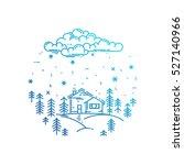 blue winter landscape in round... | Shutterstock .eps vector #527140966