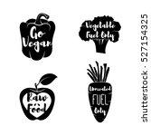 vegan labels set.   cocept.... | Shutterstock .eps vector #527154325
