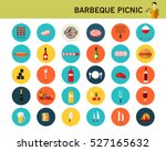 barbeque picnic concept flat... | Shutterstock .eps vector #527165632