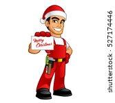 handyman dressed as santa claus | Shutterstock .eps vector #527174446