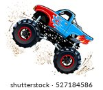 cartoon monster truck.... | Shutterstock .eps vector #527184586
