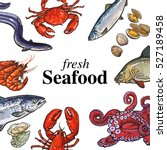 colorful seafood banner  poster ... | Shutterstock .eps vector #527189458