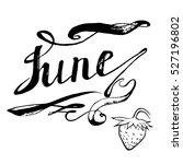 june strawberries lettering... | Shutterstock .eps vector #527196802