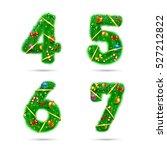 fir tree font numbers.... | Shutterstock .eps vector #527212822