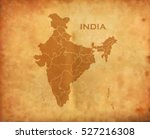 indian map on vintage grunge... | Shutterstock .eps vector #527216308