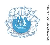milk product banner. hand drawn ... | Shutterstock .eps vector #527216482