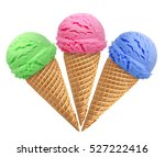 Stock photo triple ice cream scoops in cone isolated on white background 527222416