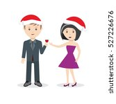 Man And Woman In Christmas Hat...