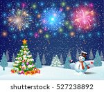 christmas landscape at night.... | Shutterstock .eps vector #527238892
