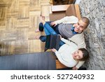romantic couple sharing a... | Shutterstock . vector #527240932