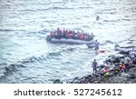 the refugees migrate to europe. ... | Shutterstock . vector #527245612