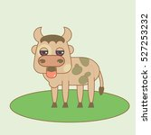 flat small cute bull. isolated... | Shutterstock .eps vector #527253232