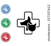 Stock vector web line icon veterinary medicine icon dog cat and cross 527257612