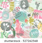 seamless pattern with hand... | Shutterstock .eps vector #527262568