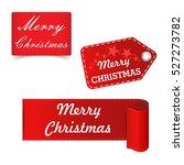 merry christmas red sticker ... | Shutterstock .eps vector #527273782